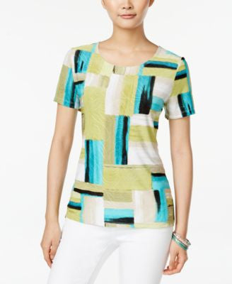 JM Collection Printed Short-Sleeve Top, Only at Vogily