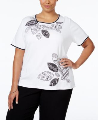 Alfred Dunner Plus Size Sao Paolo Collection Embellished Top