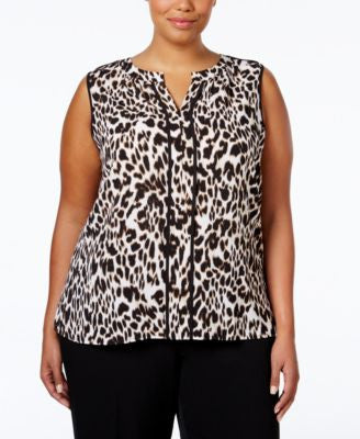 Calvin Klein Plus Size Split-Neck Printed Top