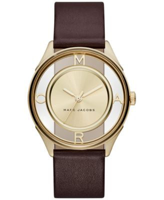 Marc Jacobs Women's Tether Burgundy Leather Strap Watch 36mm MJ1459