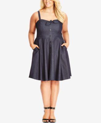 City Chic Plus Size Sleeveless Denim Fit & Flare Dress