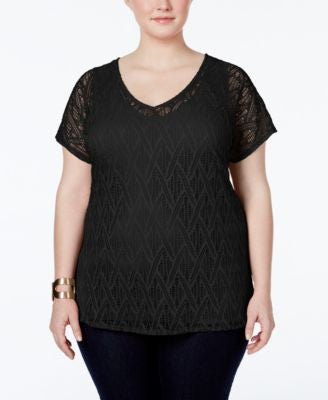 NY Collection Plus Size V-Neck Crocheted-Lace Top