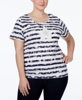 Karen Scott Plus Size Striped Graphic T-Shirt, Only at Vogily
