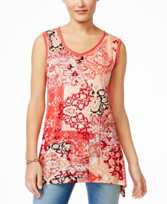 Style & Co. Petite Printed Sleeveless V-Neck Top, Only at Vogily