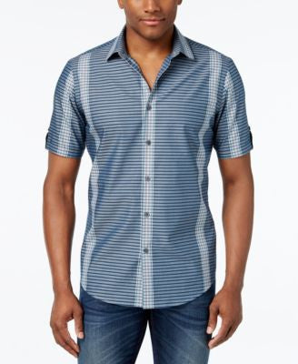 Alfani Men's Big and Tall Multi-Stripe Short-Sleeve Shirt, Only at Vogily