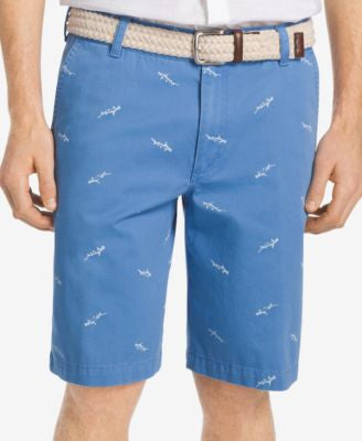 IZOD Men's Big and Tall Flat-Front Shark-Print Shorts