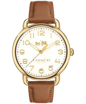 COACH Women's Delancey Brown Leather Strap Watch 36mm 14502561