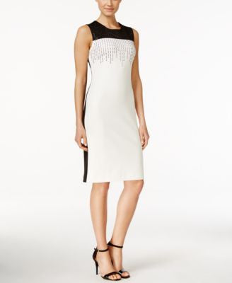Calvin Klein Embellished Colorblocked Sheath Dress