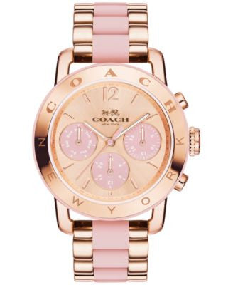COACH Women's Chronograph Legacy Sport Rose Gold-Tone Stainless Steel and Blush Silicone Bracelet Wa