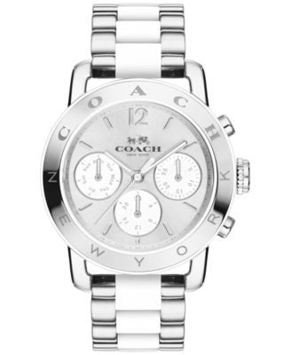 COACH Women's Legacy Sport Stainless Steel and White Silicone Bracelet Watch 36mm 14502532