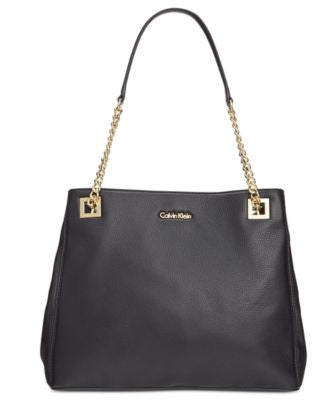 Calvin Klein Triple Compartment Pebble Leather Tote