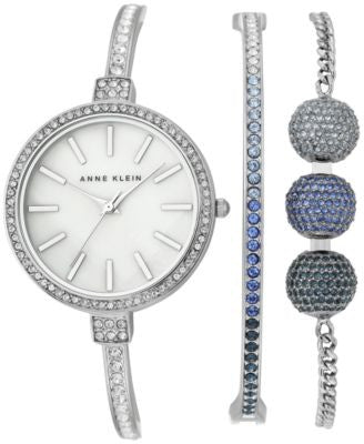 Anne Klein Women's Swarovski Crystal Stainless Steel Bangle Bracelet Watch and Bracelets Set 32mm AK