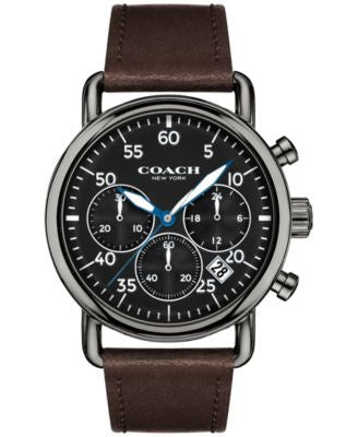 COACH Men's Chronograph Delancey Brown Leather Strap Watch 42mm 14602106