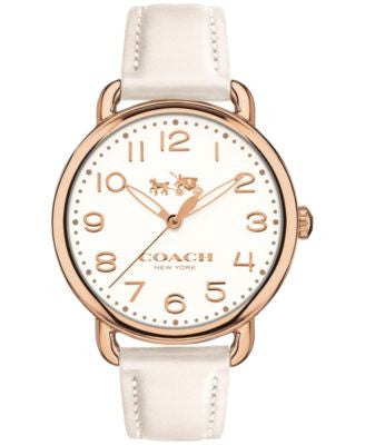 COACH Women's Delancey Chalk Leather Strap Watch 36mm 14502562
