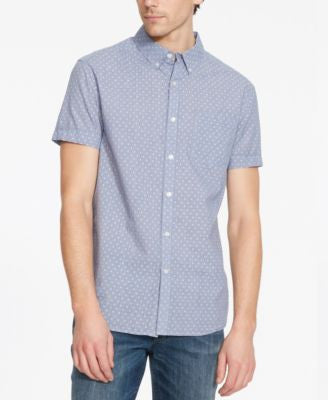 Kenneth Cole Reaction Men's Check Geo-Pattern Short-Sleeve Shirt