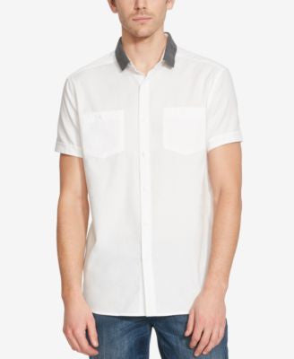 Kenneth Cole Reaction Men's Contrast-Collar Short-Sleeve Shirt