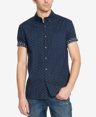 Kenneth Cole Reaction Men's Reverse Brushstroke-Print Short-Sleeve Shirt