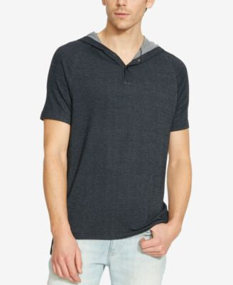 Kenneth Cole Reaction Men's Piqué Raglan-Sleeve Hoodie T-Shirt