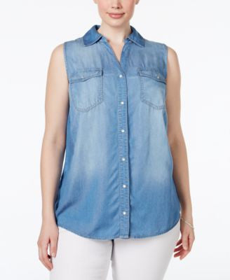 INC International Concepts Plus Size Split-Back Denim Shirt, Only at Vogily