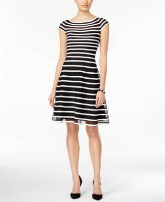 Betsy & Adam Cap-Sleeve Striped Fit & Flare Dress