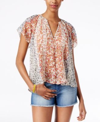 American Rag Short-Sleeve Printed Blouse, Only at Vogily