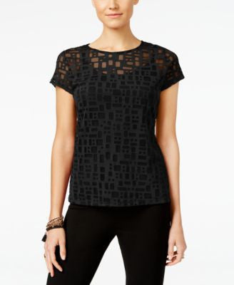 INC International Concepts Petite Illusion-Mesh Top, Only at Vogily