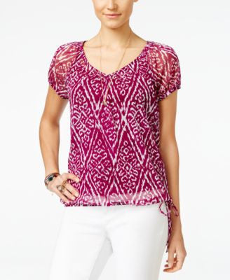 INC International Concepts Printed Short-Sleeve Peasant Top, Only at Vogily