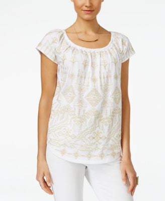 INC International Concepts Embroidered Peasant Top, Only at Vogily