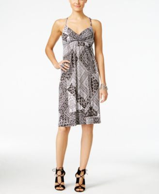 INC International Concepts Petite Printed Surplice Dress, Only at Vogily