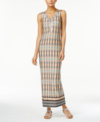 NY Collection Petite Printed Studded Maxi Dress