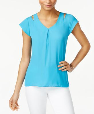 NY Collection Petite Cutout-Detail Top