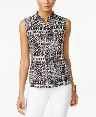 NY Collection Petite Printed Sleeveless Utility Blouse