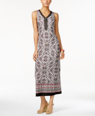 NY Collection Petite Printed Embellished Maxi Dress
