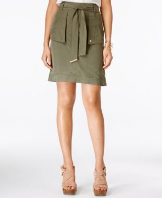 INC International Concepts Petite Belted Cargo Skirt, Only at Vogily