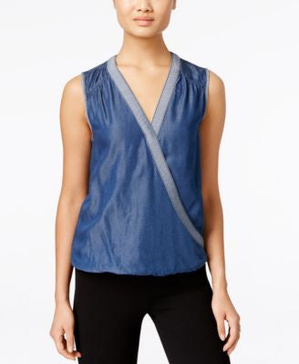 INC International Concepts Surplice Chambray Top, Only at Vogily