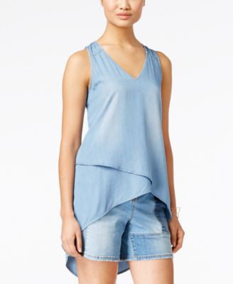 INC International Concepts High-Low Chambray Top, Only at Vogily