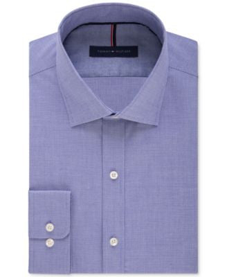 Tommy Hilfiger Men's Slim-Fit Non-Iron Night Blue Mini-Check Dress Shirt