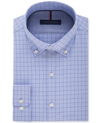 Tommy Hilfiger Men's Slim-Fit Non-Iron Blue Cloud Check Dress Shirt