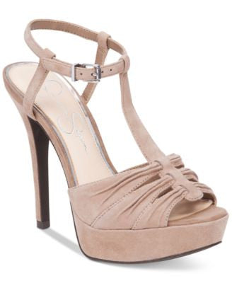 Jessica Simpson Bassie Ruched T-Strap High-Heel Platform Sandals
