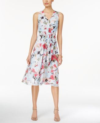 Anne Klein Printed Chiffon A-Line Dress