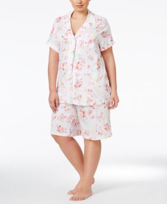 Lauren Ralph Lauren Plus Size Floral-Print Top and Bermuda Shorts Pajama Set