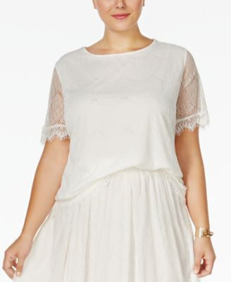 ING Plus Size Short-Sleeve Lace Blouse