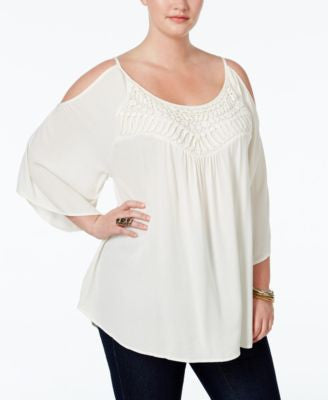 Eyeshadow Plus Size Crocheted Cold-Shoulder Blouse