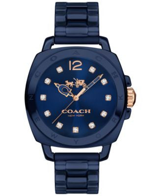 COACH Women's Boyfriend Navy Ceramic Bracelet Watch 34mm 14502502
