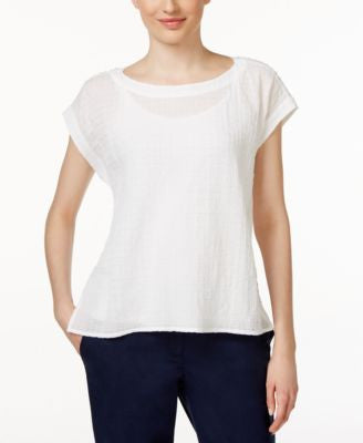 Eileen Fisher Short-Sleeve Textured Swing Top