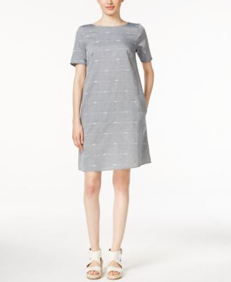 Eileen Fisher Embroidered Chambray Shift Dress