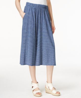 Eileen Fisher Striped A-Line Midi Skirt