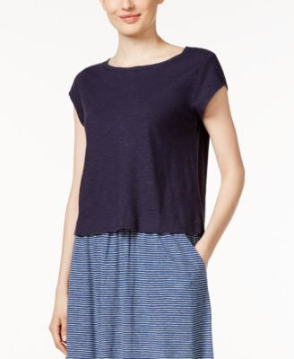 Eileen Fisher Petite Ballet-Neck Crop Top