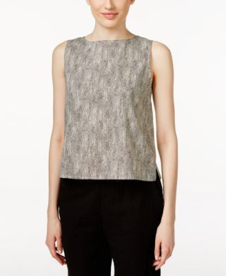 Eileen Fisher Round-Neck Printed Shell