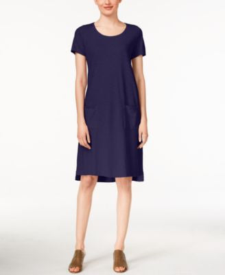 Eileen Fisher Petite Short-Sleeve High-Low Shift Dress